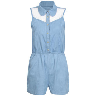 View Item Denim Playsuit with Lace Detali
